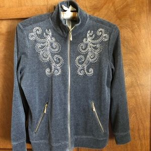 D&D LIFESTYLE Gray cotton fleece zippered JACKET